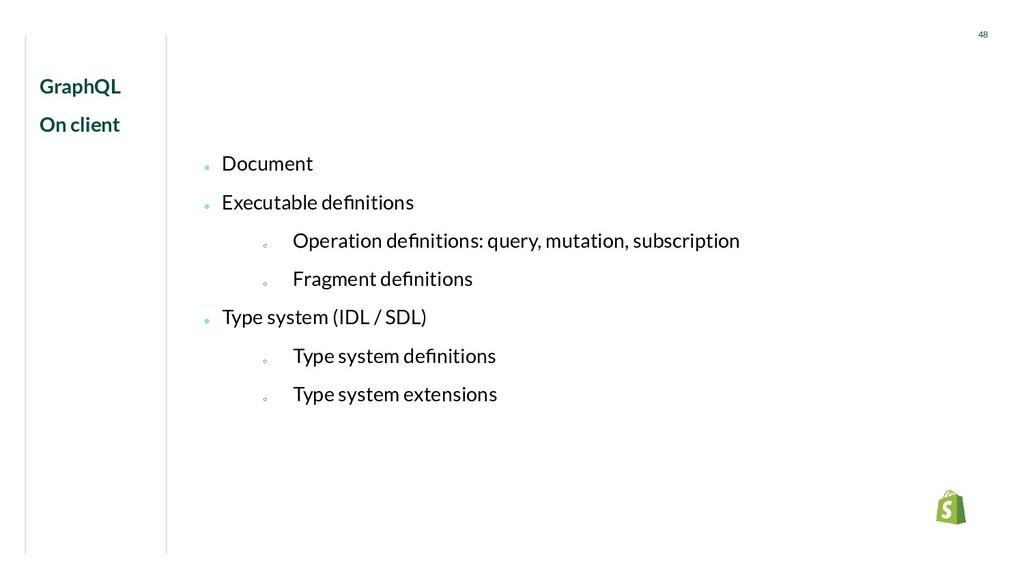 GraphQL On client 48 ● Document ● Executable de...