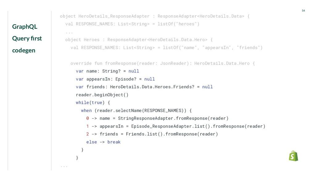 GraphQL Query first codegen 54 object HeroDetail...