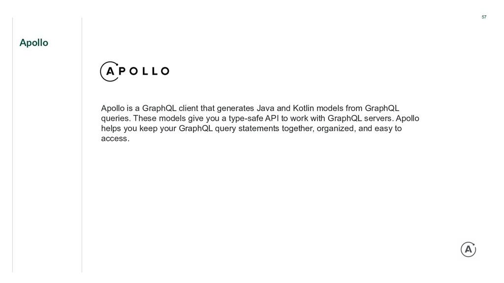 Apollo 57 Apollo is a GraphQL client that gener...