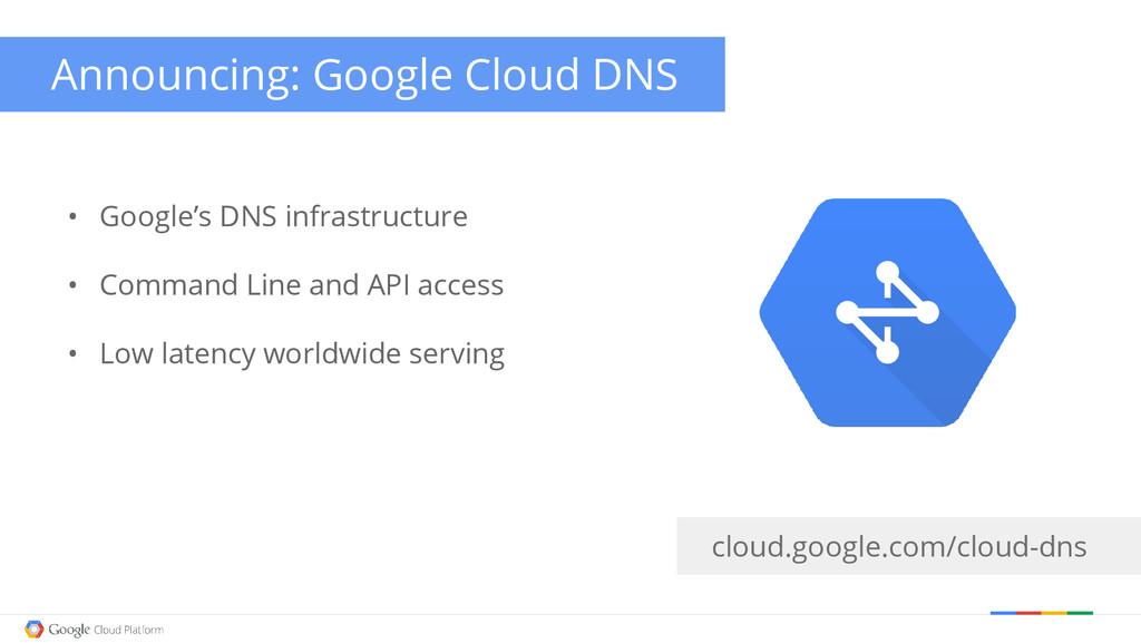 cloud.google.com/cloud-dns • Google's DNS infra...