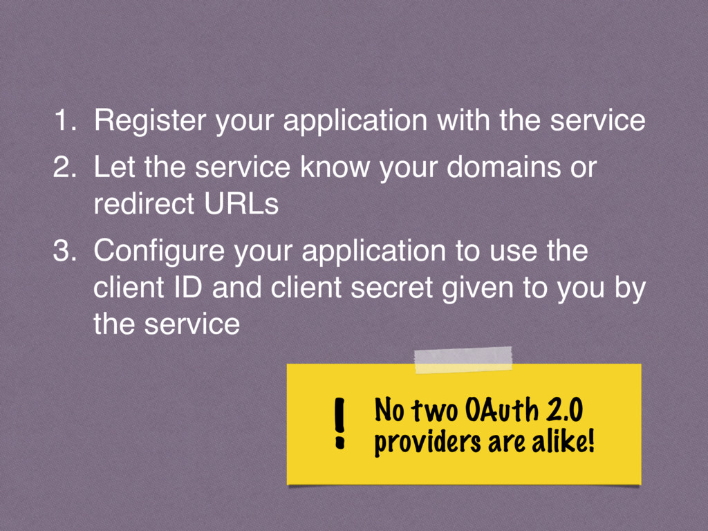 1. Register your application with the service 2...