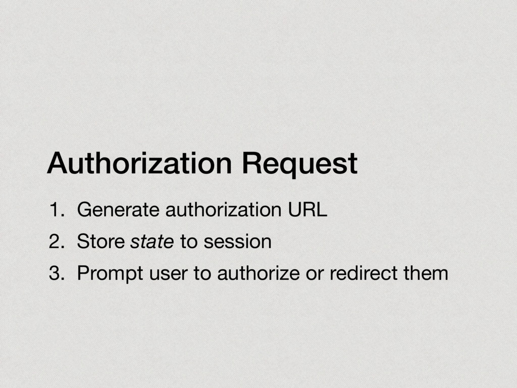 Authorization Request 1. Generate authorization...