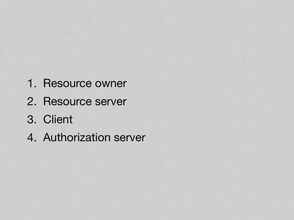 1. Resource owner  2. Resource server  3. Clien...