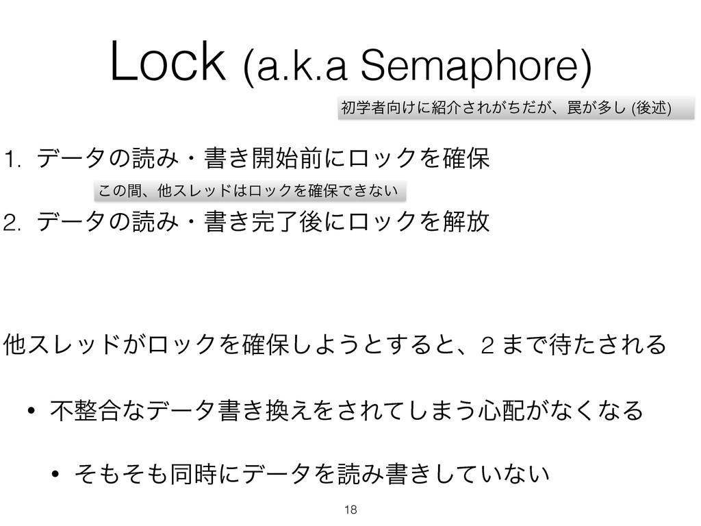 Lock (a.k.a Semaphore) 1. σʔλͷಡΈɾॻ͖։લʹϩοΫΛ֬อ 2...