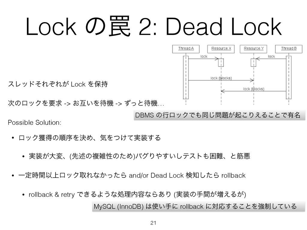 Lock ͷ᠘ 2: Dead Lock εϨουͦΕͧΕ͕ Lock Λอ ͷϩοΫΛཁ...