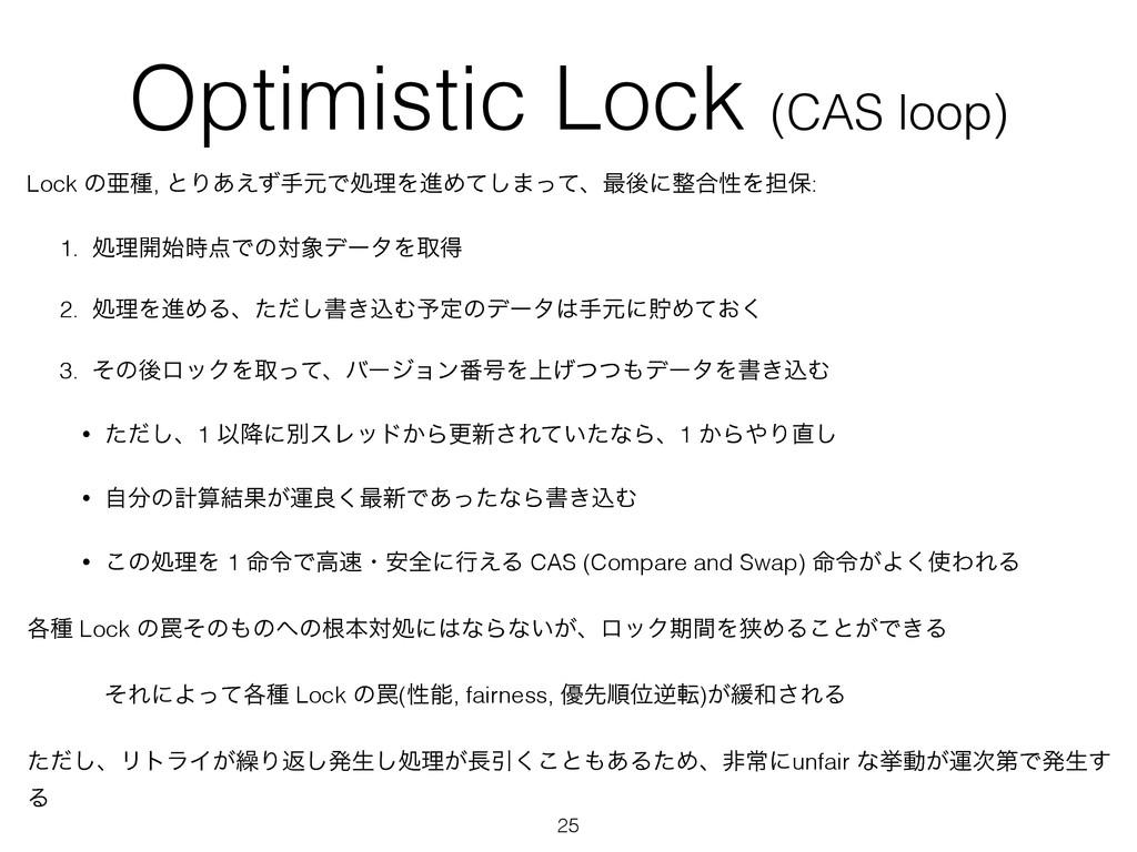 Optimistic Lock (CAS loop) Lock ͷѥछ, ͱΓ͋͑ͣखݩͰॲཧ...