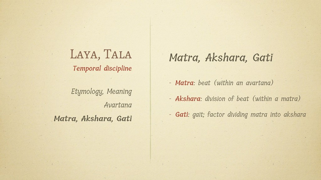 Matra, Akshara, Gati - Matra: beat (within an a...