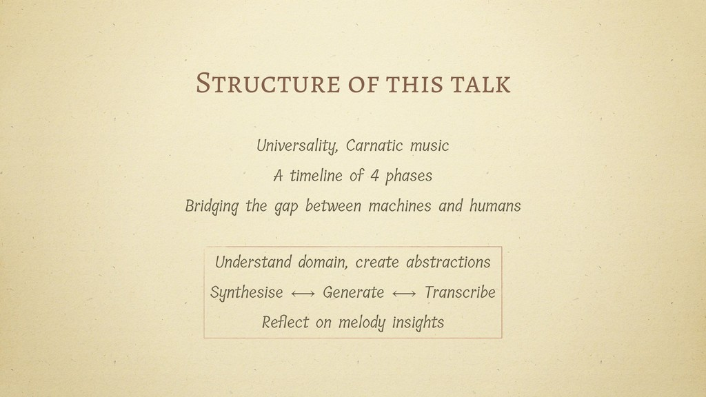 Structure of this talk Universality, Carnatic m...