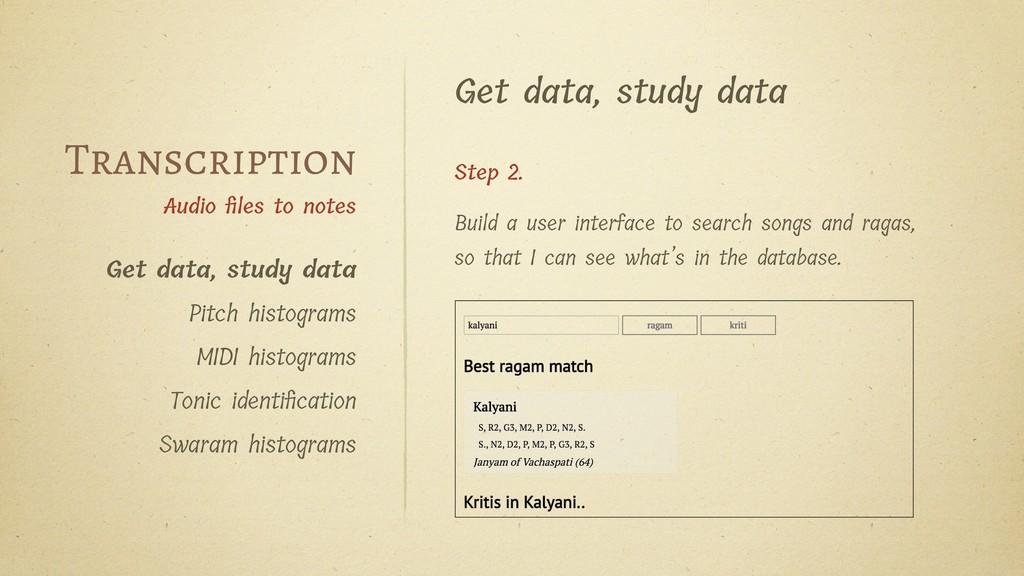 Get data, study data Step 2. Build a user inter...