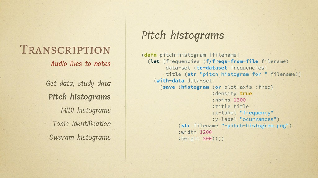 Pitch histograms (defn pitch-histogram [filenam...