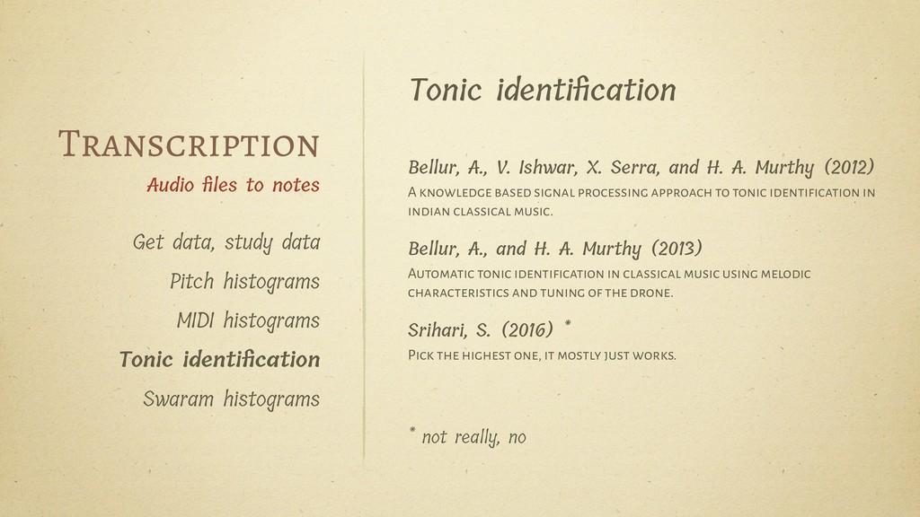 Tonic identification Bellur, A., V. Ishwar, X. S...