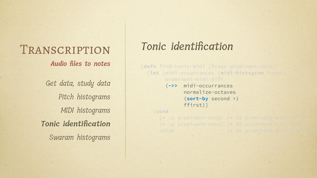 Get data, study data Pitch histograms MIDI hist...