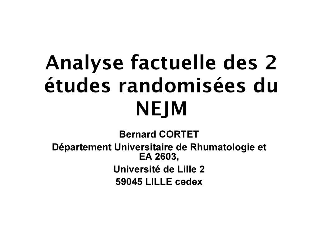 Analyse factuelle des 2 études randomisées du N...