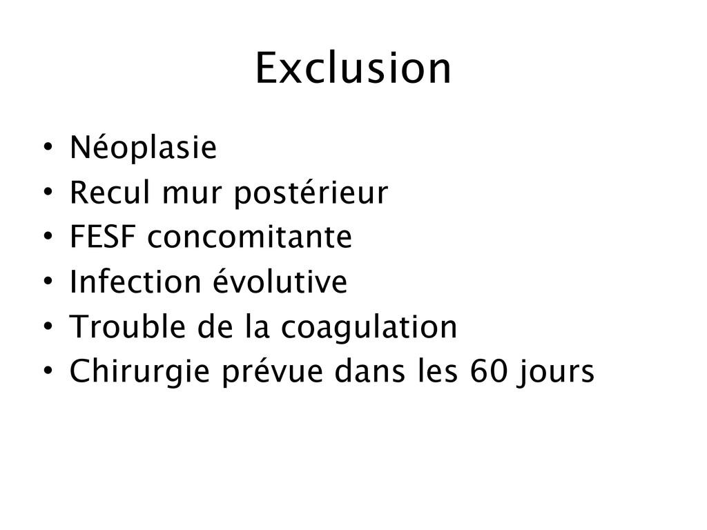 Exclusion • Néoplasie • Recul mur postérieur • ...