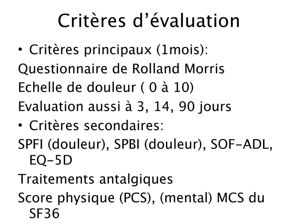 Critères d'évaluation • Critères principaux (1m...
