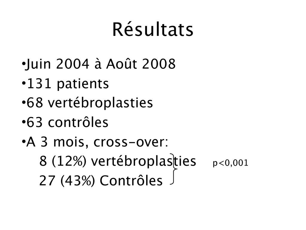 Résultats •Juin 2004 à Août 2008 •131 patients ...