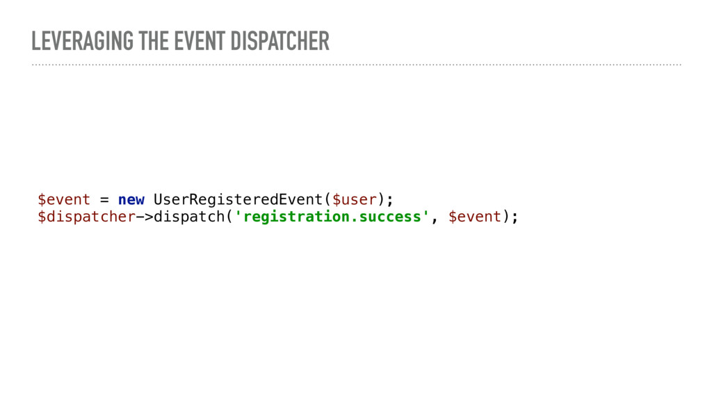 LEVERAGING THE EVENT DISPATCHER $event = new Us...