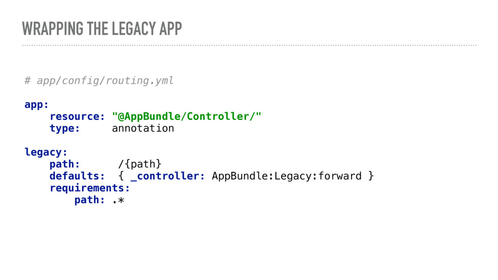 WRAPPING THE LEGACY APP # app/config/routing.ym...