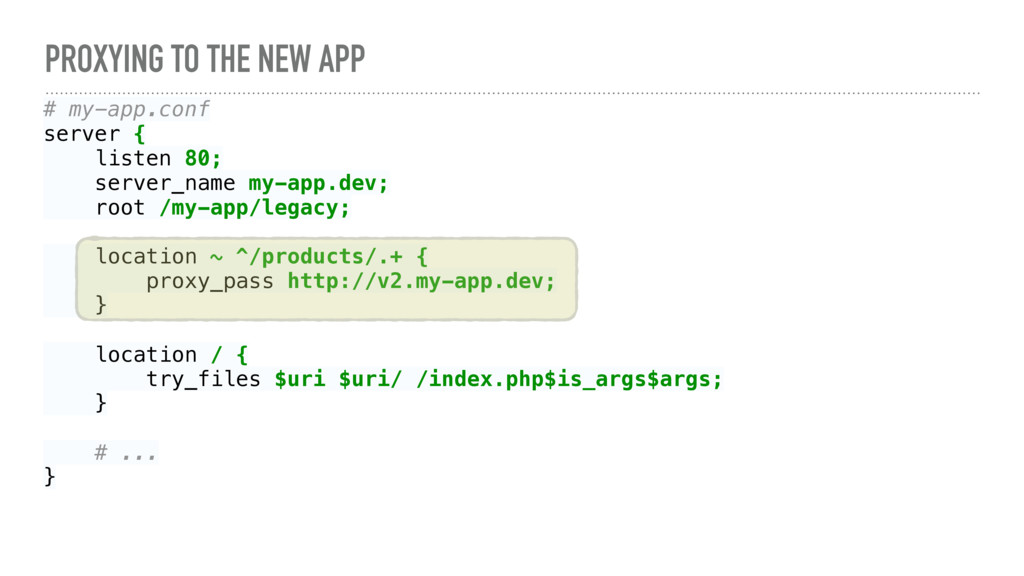PROXYING TO THE NEW APP # my-app.conf server {