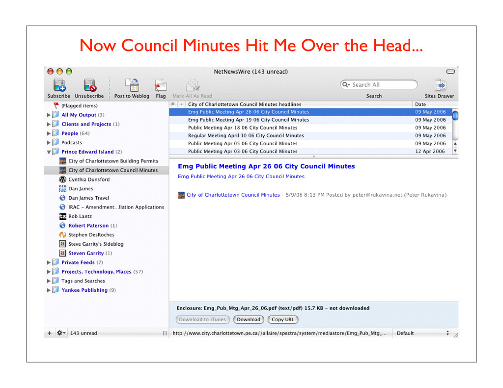 Now Council Minutes Hit Me Over the Head...