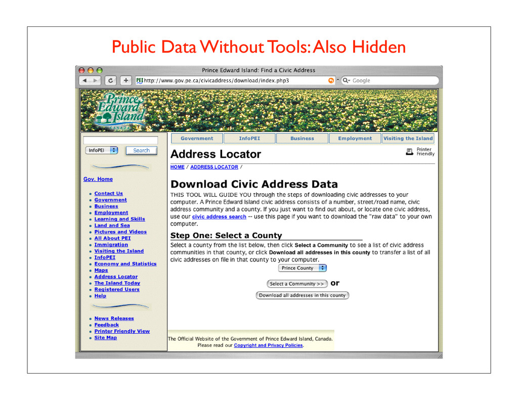 Public Data Without Tools: Also Hidden