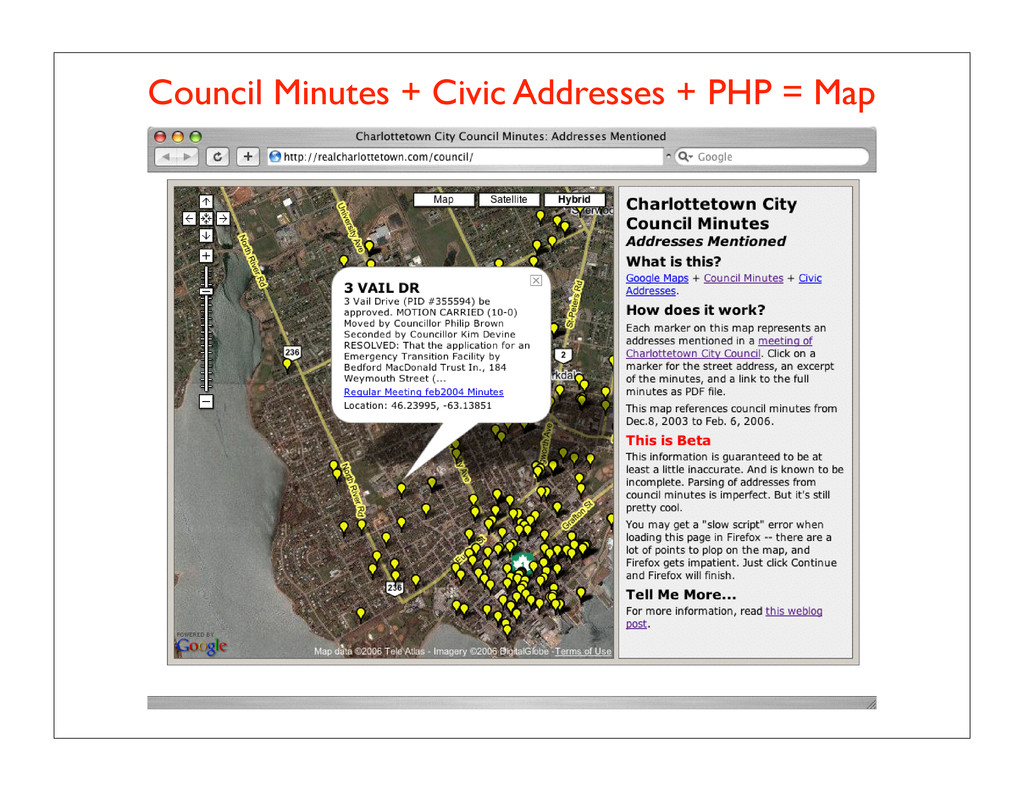 Council Minutes + Civic Addresses + PHP = Map