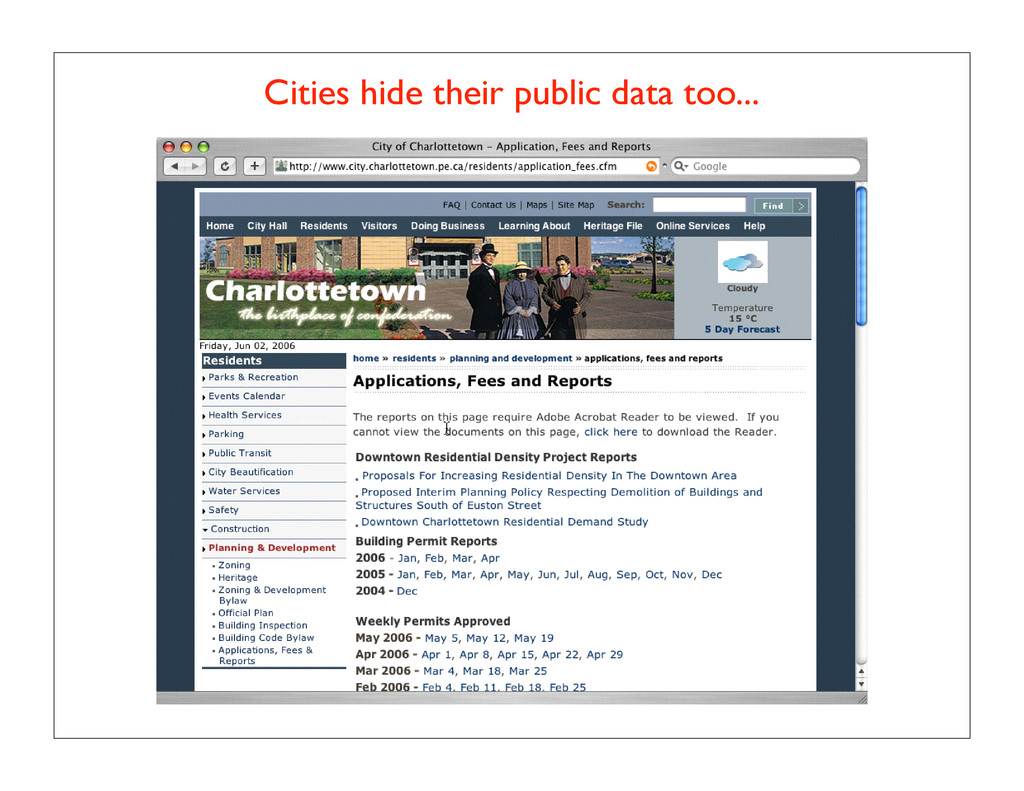 Cities hide their public data too...