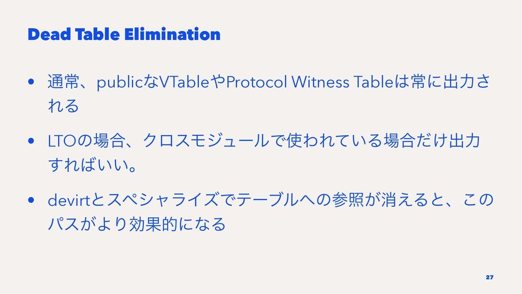 Dead Table Elimination • ௨ৗɺpublicͳVTableProto...