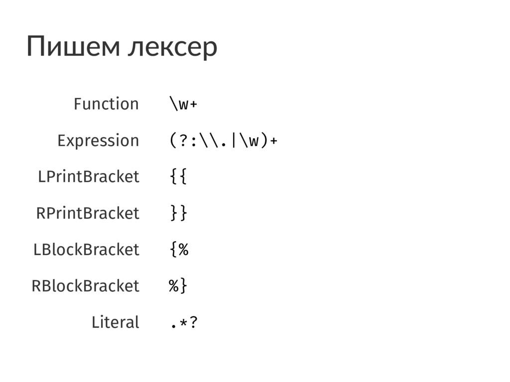 Пишем лексер Function \w+ Expression (?:\.|\w)...