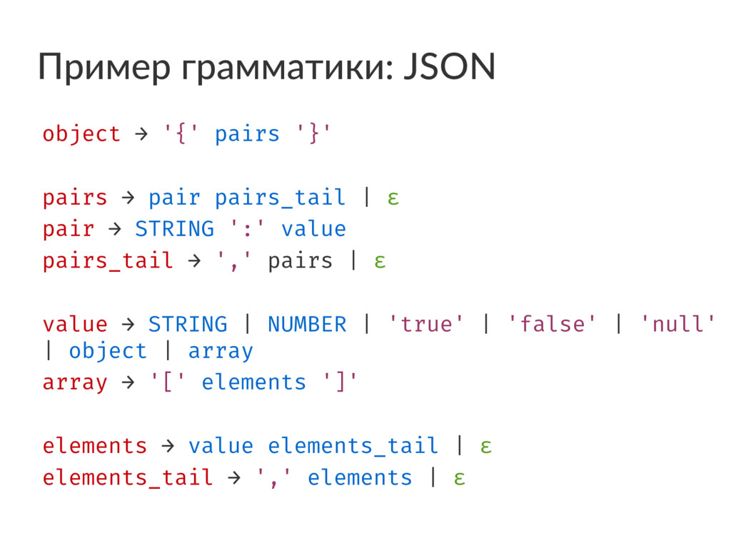 Пример грамматики: JSON object → '{' pairs '}' ...