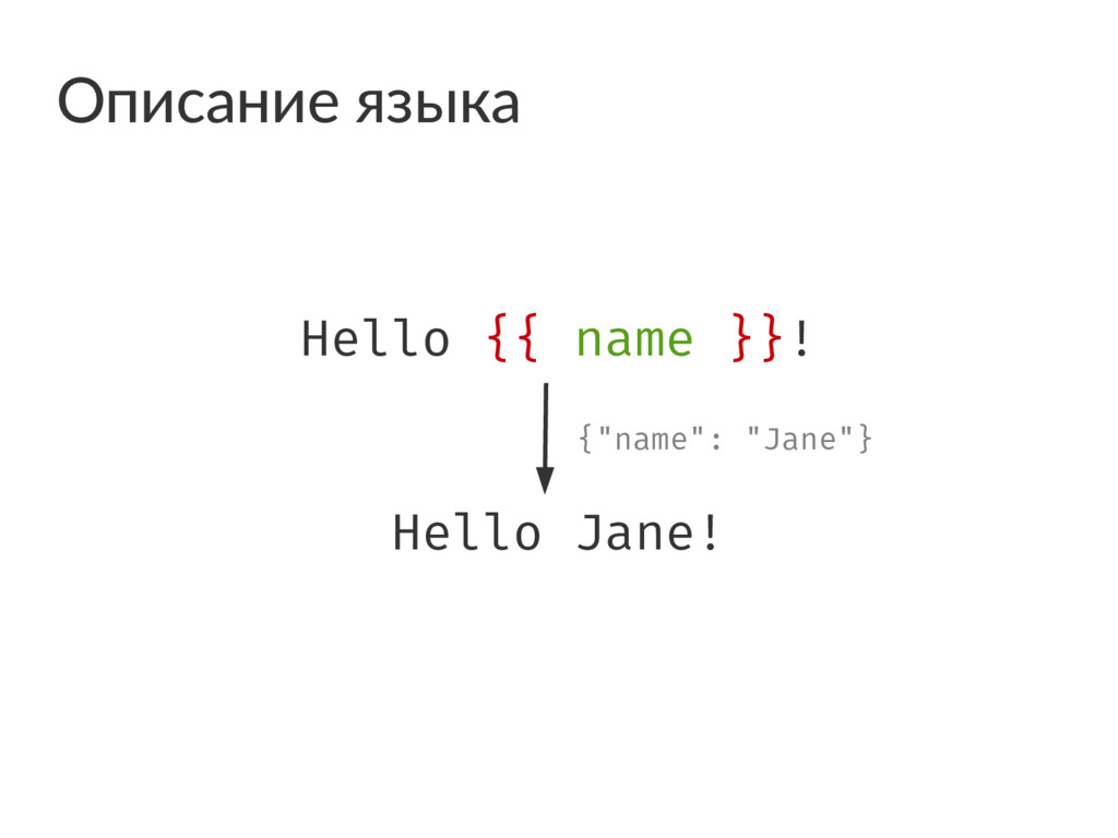 "Hello {{ name }}! Hello Jane! {""name"": ""Jane""} ..."
