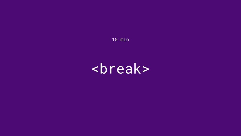<break> 15 min