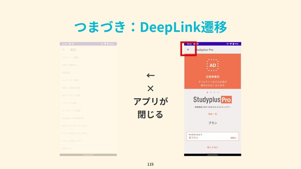 つまづき:DeepLink遷移 119 ← × アプリが 閉じる