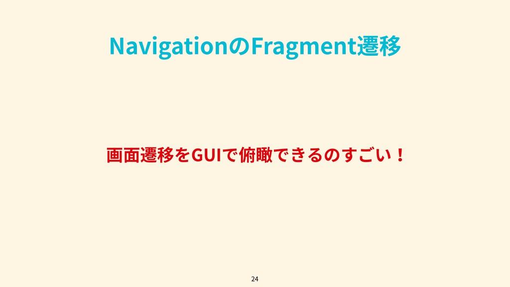 画⾯遷移をGUIで俯瞰できるのすごい! 24 NavigationのFragment遷移