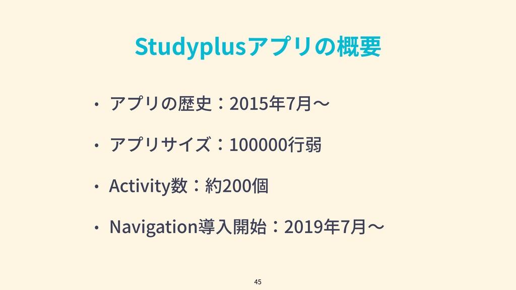 Studyplusアプリの概要 • アプリの歴史:2015年7⽉〜 • アプリサイズ:1000...