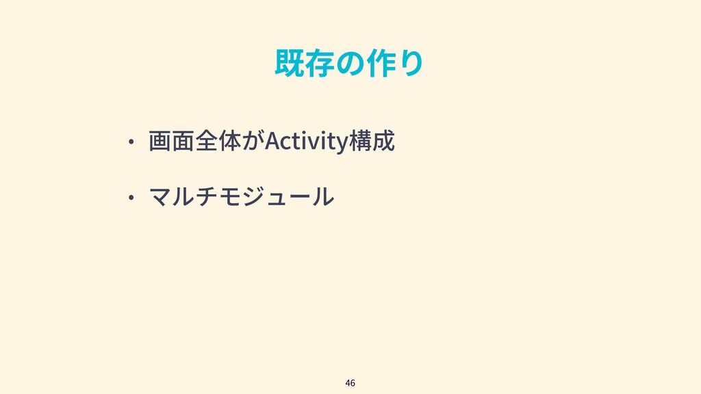 既存の作り • 画⾯全体がActivity構成 • マルチモジュール 46