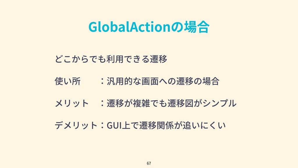 GlobalActionの場合 67 どこからでも利⽤できる遷移 使い所:汎⽤的な画⾯への...