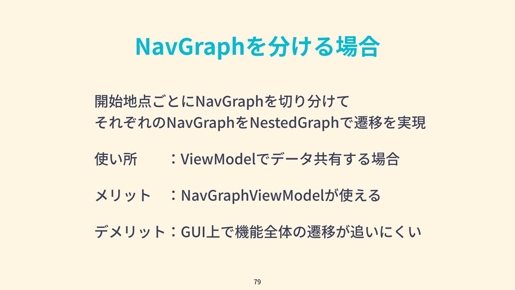 NavGraphを分ける場合 79 開始地点ごとにNavGraphを切り分けて それぞれのNa...