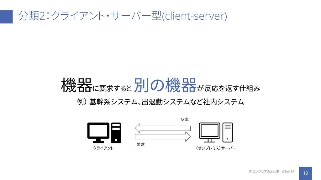 分類2:クライアント・サーバー型(client-server) 19 IT エンジニアのお仕事...