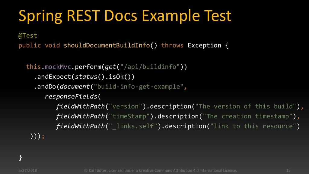 Spring REST Docs Example Test @Test public void...