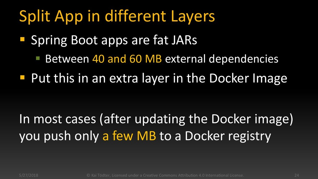 Split App in different Layers  Spring Boot app...