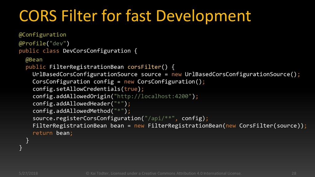 CORS Filter for fast Development @Configuration...