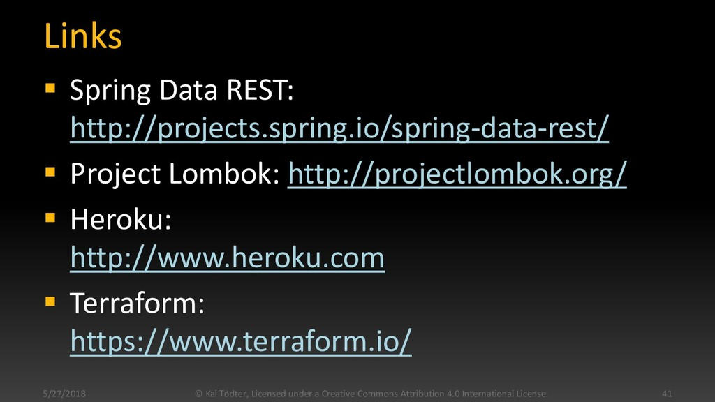Links  Spring Data REST: http://projects.sprin...
