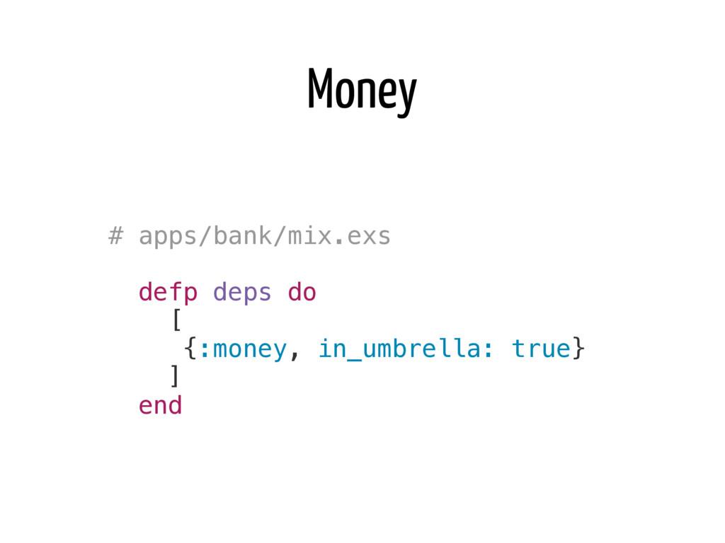 Money # apps/bank/mix.exs defp deps do [ {:mone...