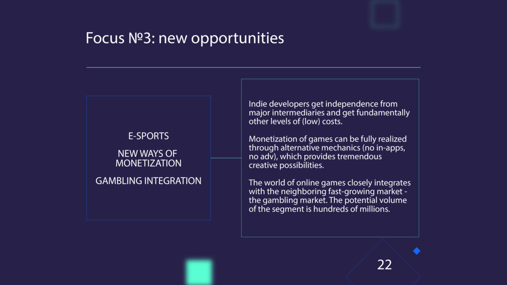 Focus №3: new opportunities E-SPORTS NEW WAYS O...