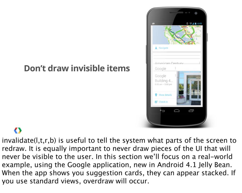 Don't draw invisible items invalidate(l,t,r,b) ...