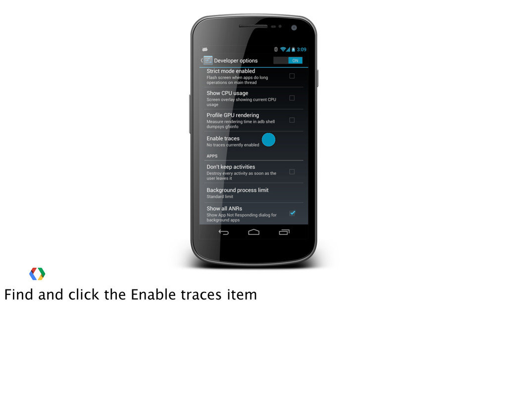 Find and click the Enable traces item