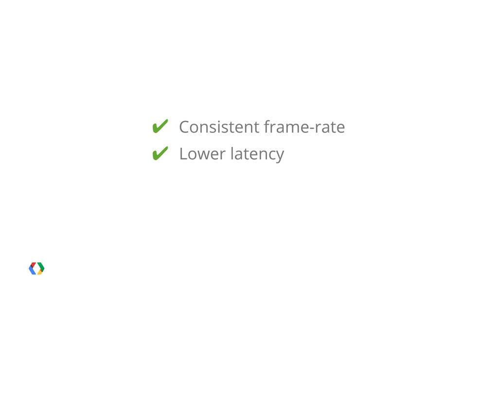 ✔ Consistent frame-rate ✔ Lower latency