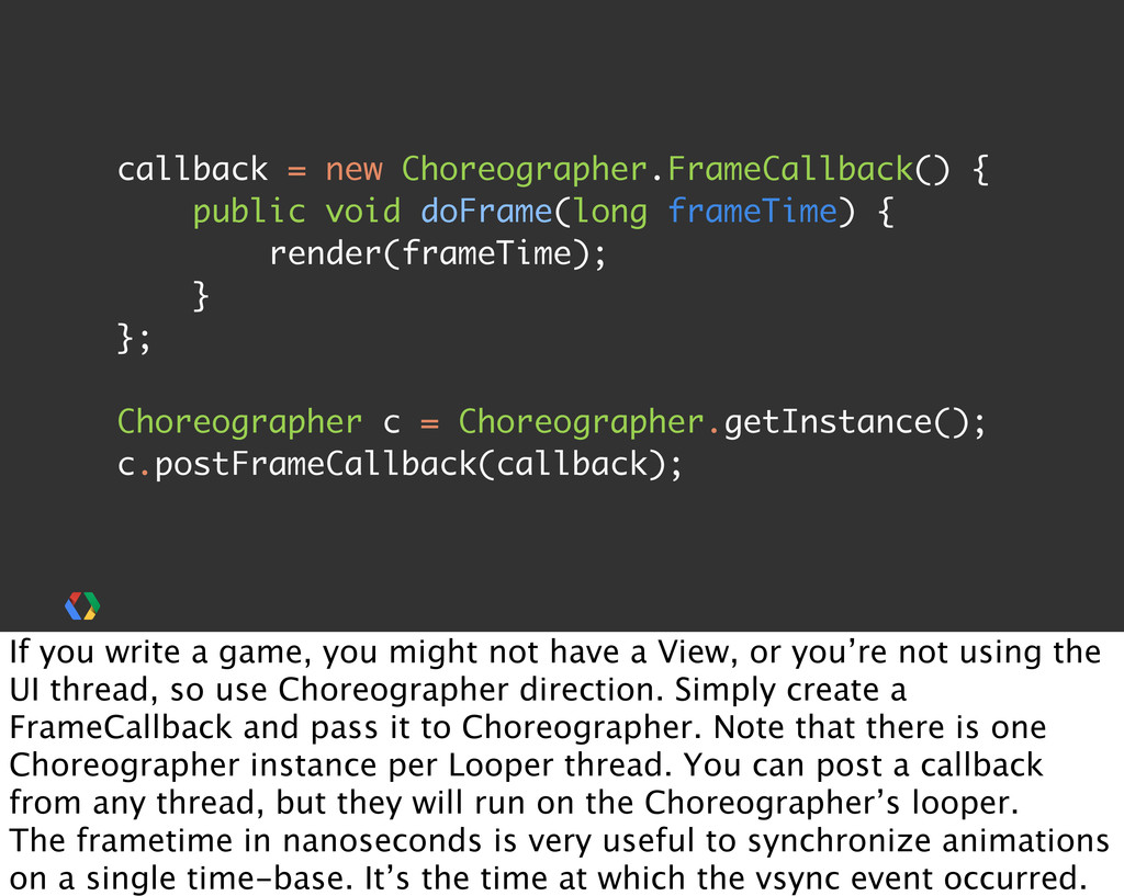 callback = new Choreographer.FrameCallback() { ...