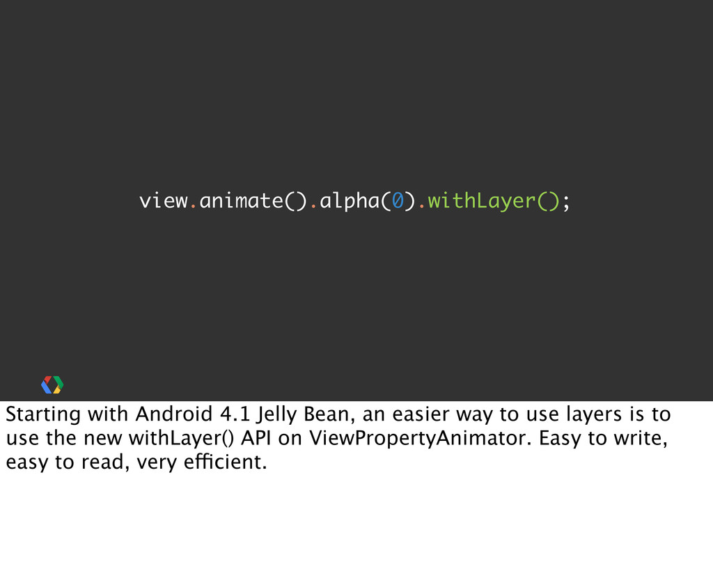 view.animate().alpha(0).withLayer(); Starting w...